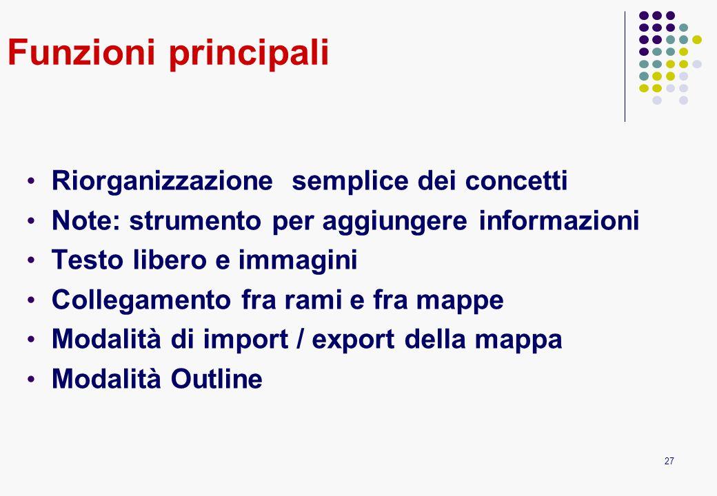 27 Funzioni principali Riorganizzazione semplice dei concetti Note: strumento per aggiungere informazioni Testo libero e immagini Collegamento fra ram