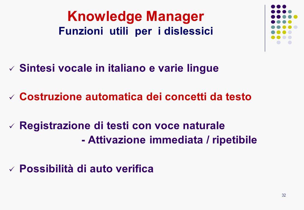 32 Sintesi vocale in italiano e varie lingue Costruzione automatica dei concetti da testo Registrazione di testi con voce naturale - Attivazione immed
