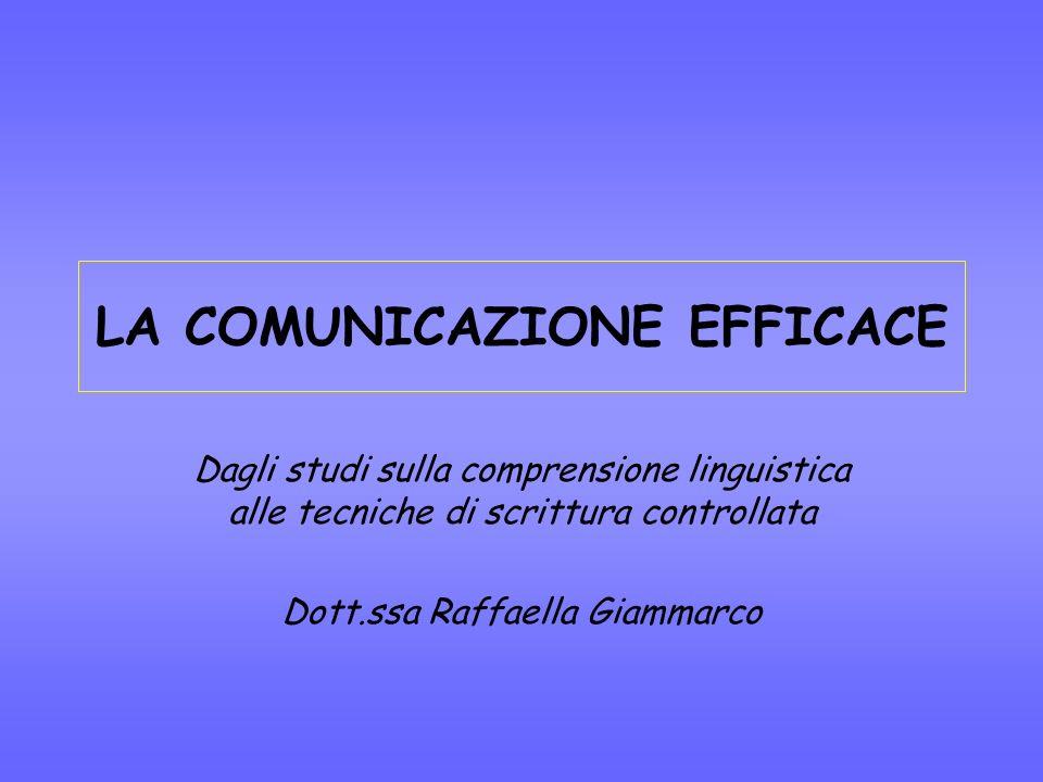 LA COMUNICAZIONE EFFICACE Dagli studi sulla comprensione linguistica alle tecniche di scrittura controllata Dott.ssa Raffaella Giammarco
