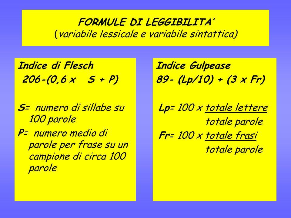 FORMULE DI LEGGIBILITA (variabile lessicale e variabile sintattica) Indice di Flesch 206-(0,6 x S + P) S= numero di sillabe su 100 parole P= numero medio di parole per frase su un campione di circa 100 parole Indice Gulpease 89- (Lp/10) + (3 x Fr) Lp= 100 x totale lettere totale parole Fr= 100 x totale frasi totale parole