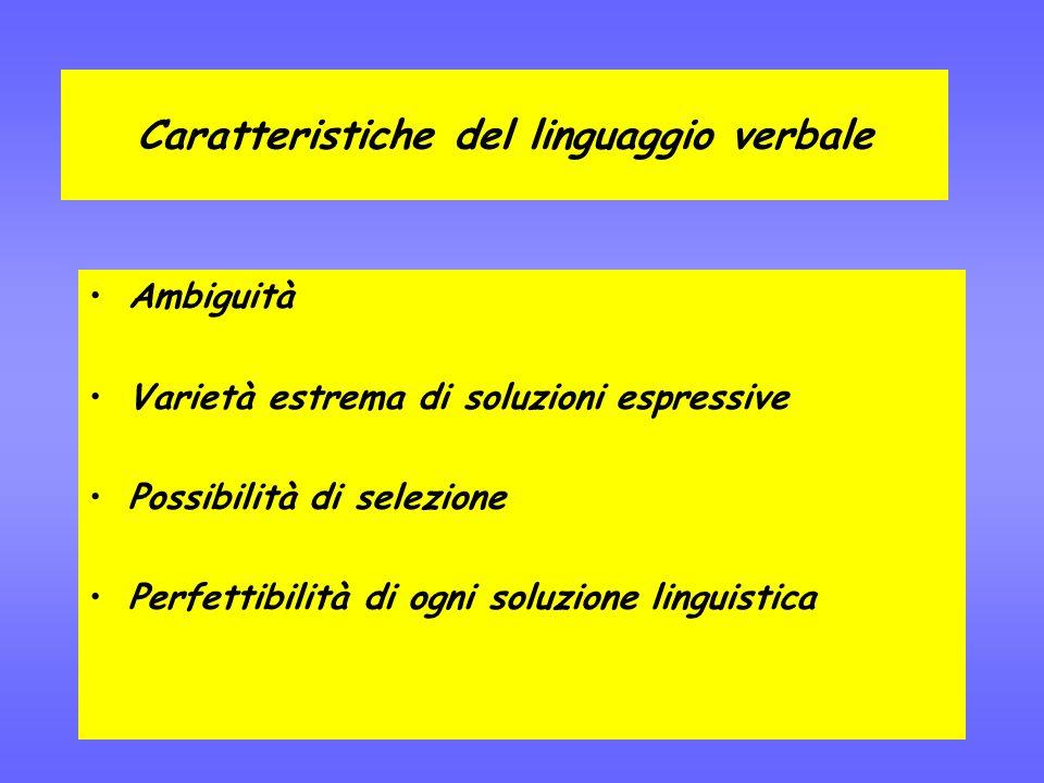 Caratteristiche del linguaggio verbale Ambiguità Varietà estrema di soluzioni espressive Possibilità di selezione Perfettibilità di ogni soluzione linguistica