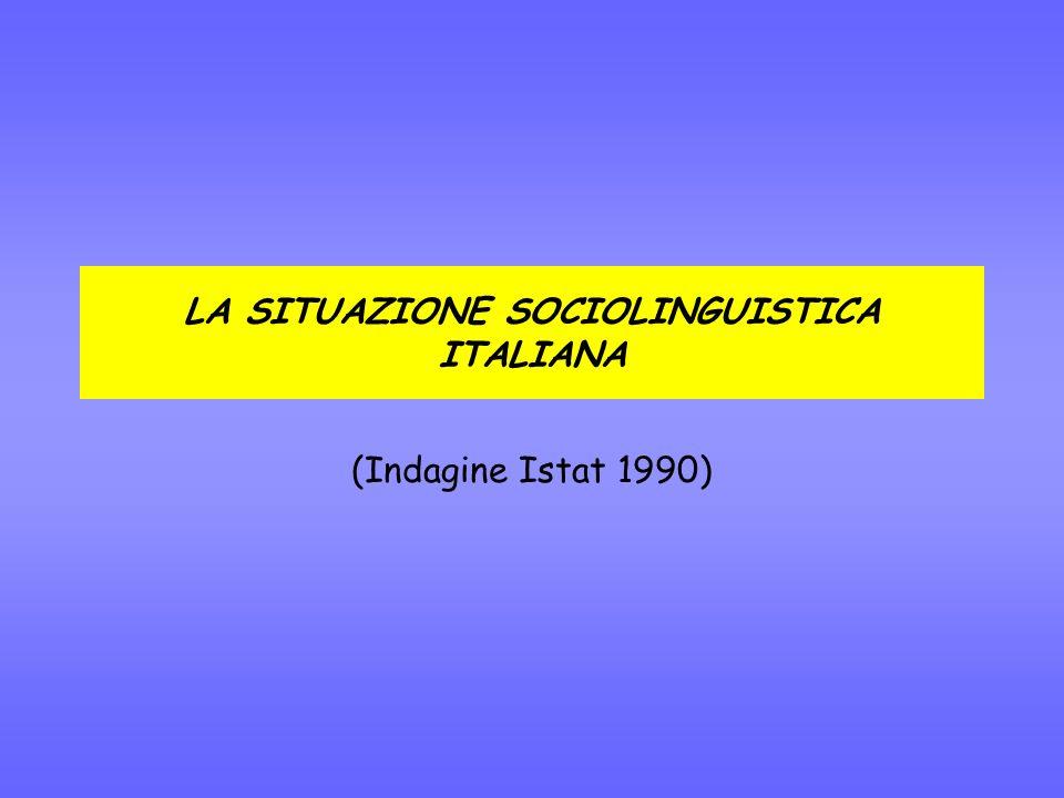 LA SITUAZIONE SOCIOLINGUISTICA ITALIANA (Indagine Istat 1990)