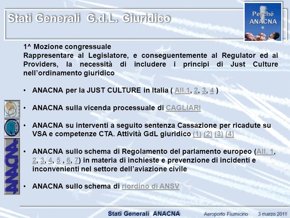 Stati Generali G.d.L. Giuridico Stati Generali ANACNA Aeroporto Fiumicino 3 marzo 2011 1^ Mozione congressuale Rappresentare al Legislatore, e consegu