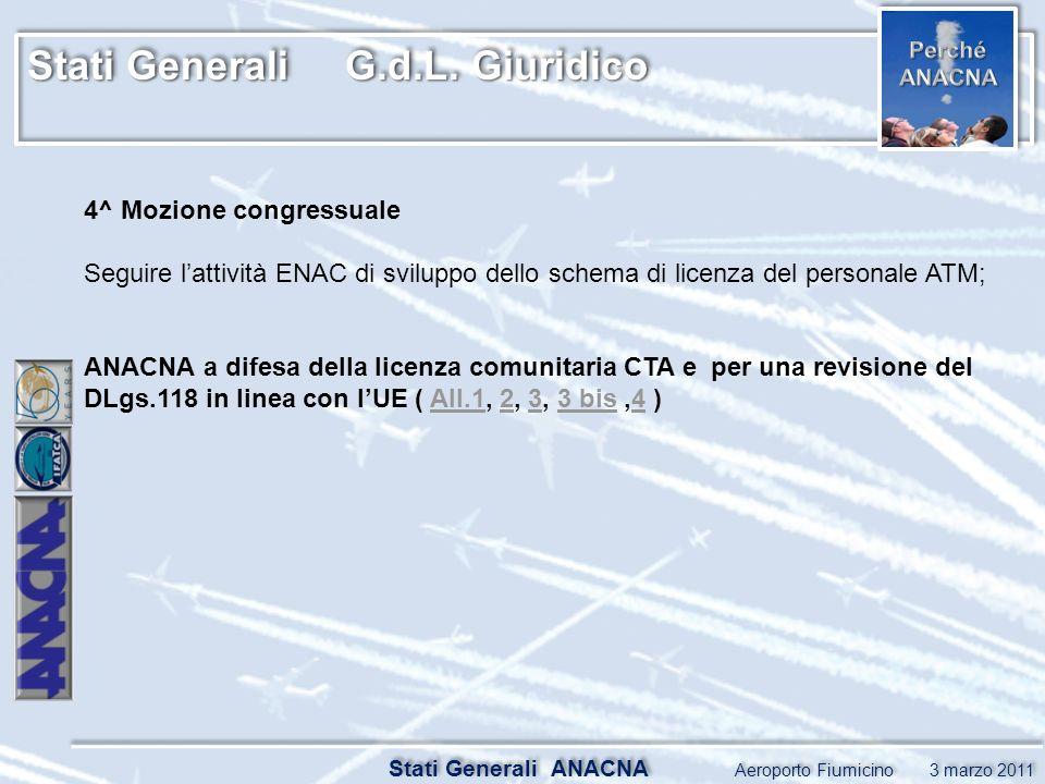 Stati Generali G.d.L. Giuridico Stati Generali ANACNA Aeroporto Fiumicino 3 marzo 2011 4^ Mozione congressuale Seguire lattività ENAC di sviluppo dell