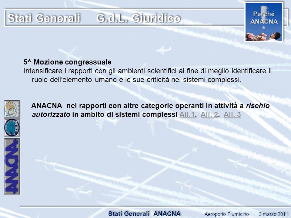 Stati Generali G.d.L. Giuridico Stati Generali ANACNA Aeroporto Fiumicino 3 marzo 2011 5^ Mozione congressuale Intensificare i rapporti con gli ambien