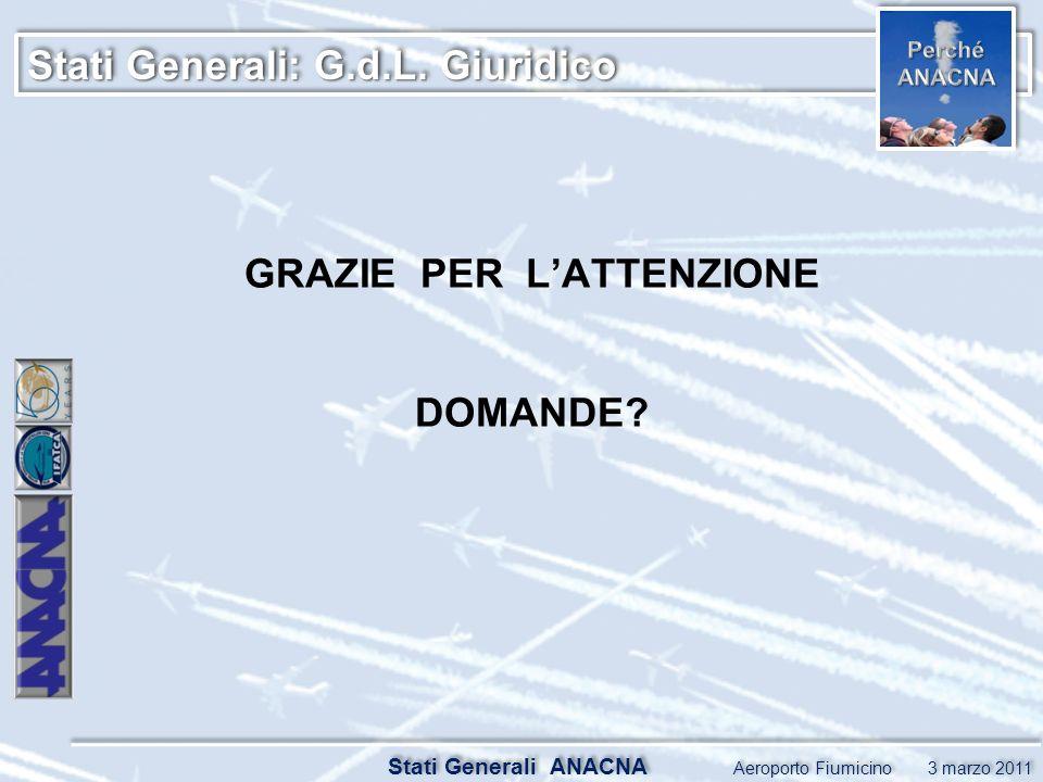 Stati Generali: G.d.L. Giuridico Stati Generali ANACNA Aeroporto Fiumicino 3 marzo 2011 GRAZIE PER LATTENZIONE DOMANDE?