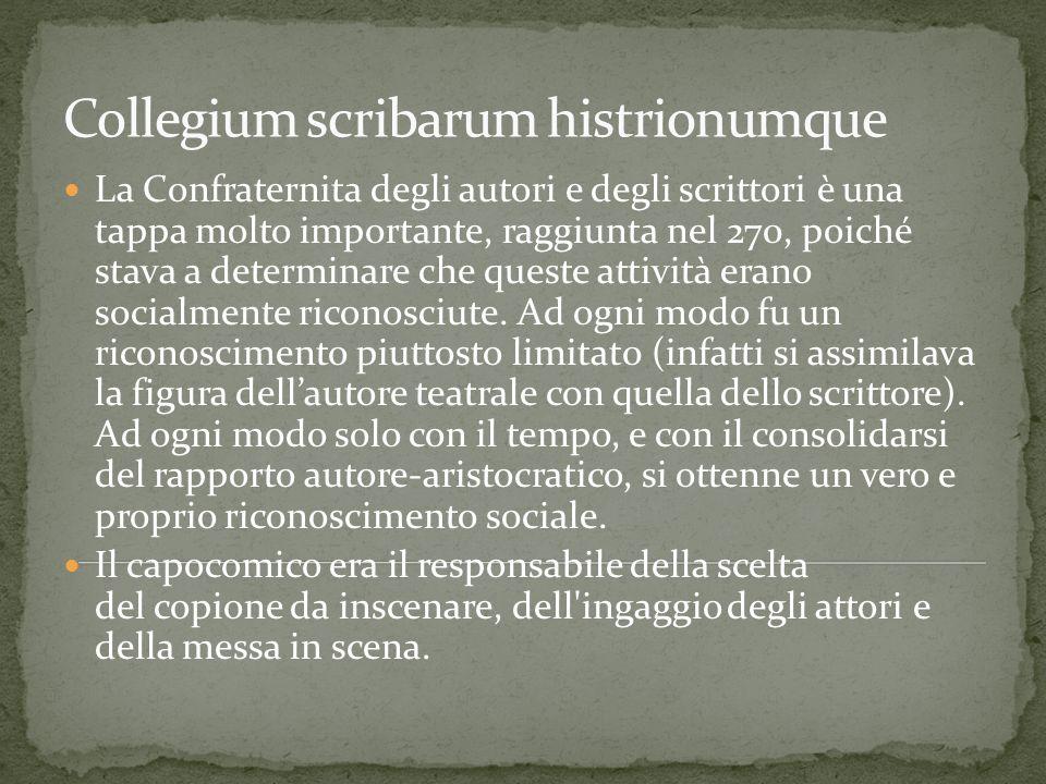 La Confraternita degli autori e degli scrittori è una tappa molto importante, raggiunta nel 270, poiché stava a determinare che queste attività erano