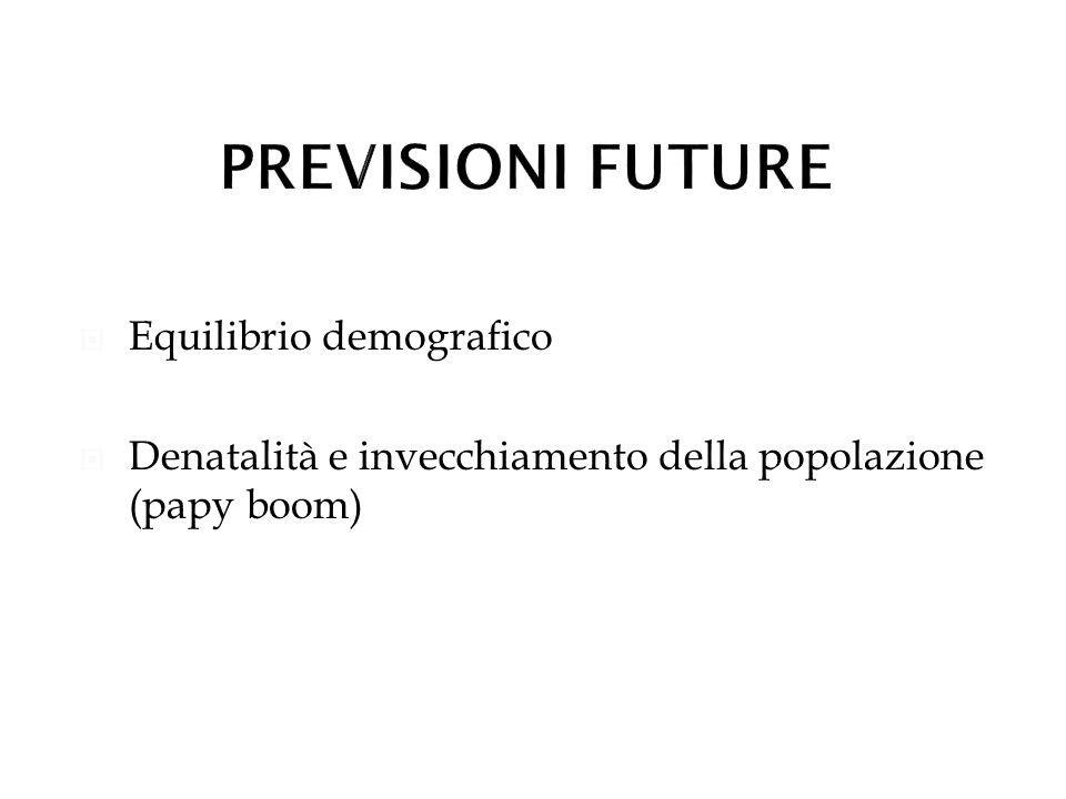 Equilibrio demografico Denatalità e invecchiamento della popolazione (papy boom)