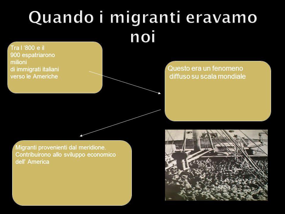 Tra l 800 e il 900 espatriarono milioni di immigrati italiani verso le Americhe Questo era un fenomeno diffuso su scala mondiale Migranti provenienti