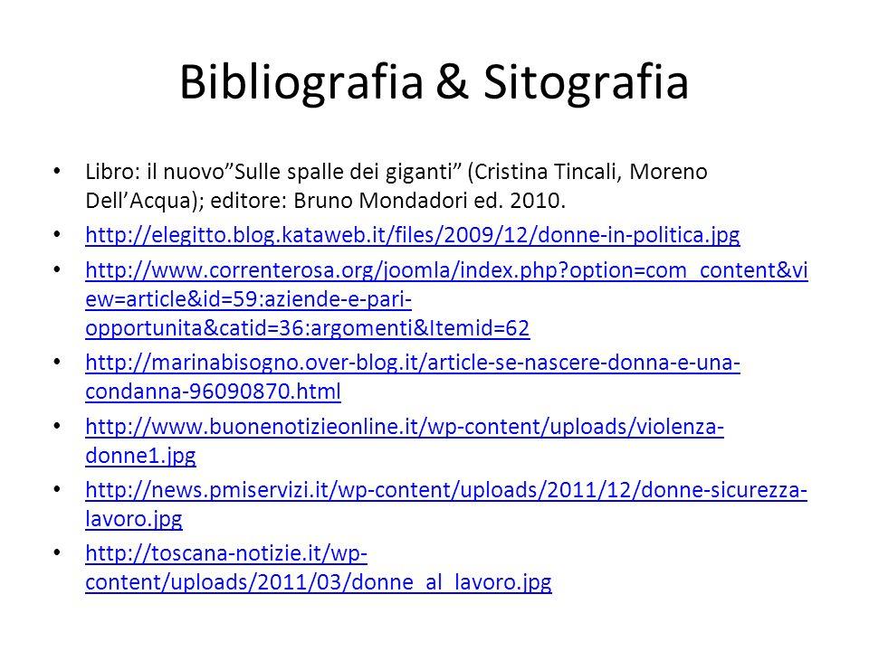 Bibliografia & Sitografia Libro: il nuovoSulle spalle dei giganti (Cristina Tincali, Moreno DellAcqua); editore: Bruno Mondadori ed. 2010. http://eleg