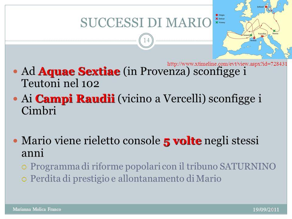 SUCCESSI DI MARIO Aquae Sextiae Ad Aquae Sextiae (in Provenza) sconfigge i Teutoni nel 102 Campi Raudii Ai Campi Raudii (vicino a Vercelli) sconfigge