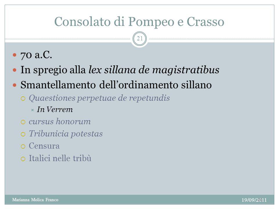 Consolato di Pompeo e Crasso 70 a.C. In spregio alla lex sillana de magistratibus Smantellamento dellordinamento sillano Quaestiones perpetuae de repe