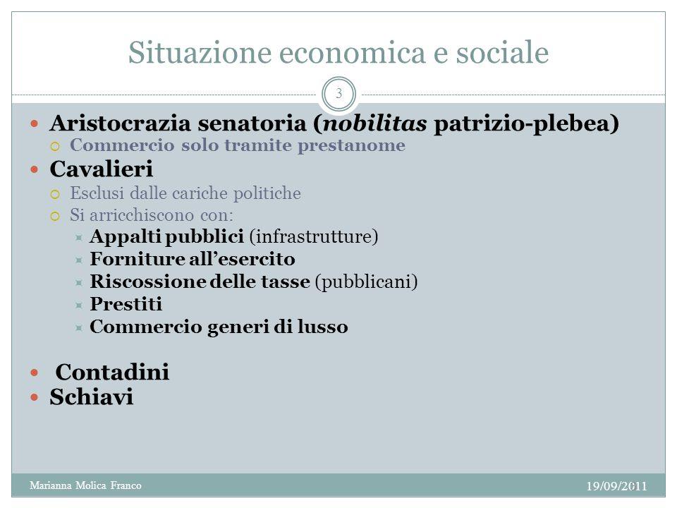 Situazione economica e sociale Aristocrazia senatoria (nobilitas patrizio-plebea) Commercio solo tramite prestanome Cavalieri Esclusi dalle cariche po