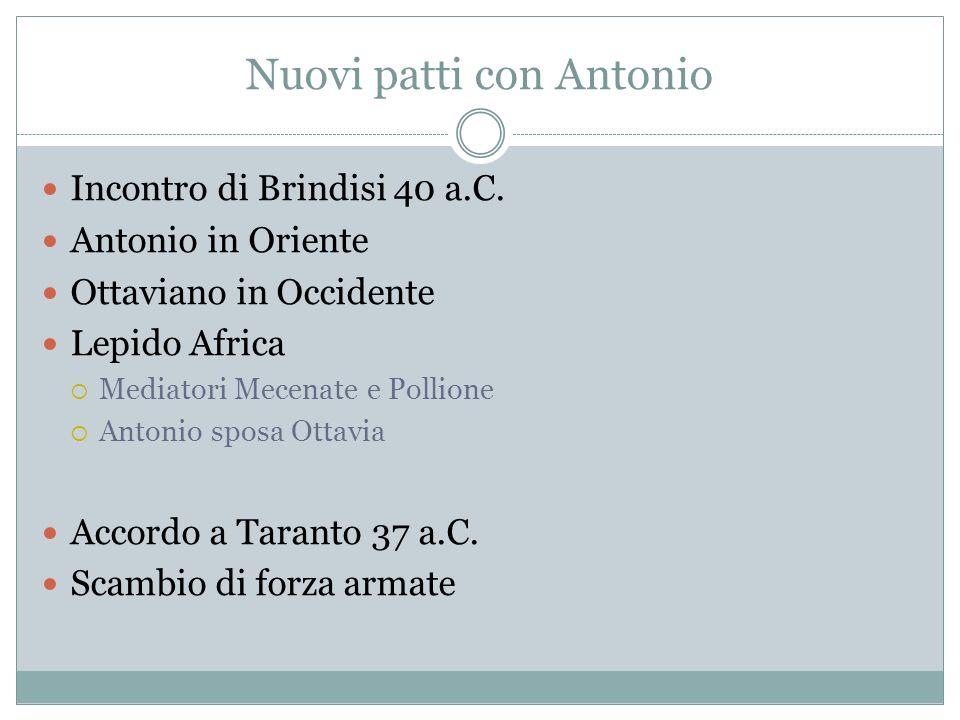 Nuovi patti con Antonio Incontro di Brindisi 40 a.C. Antonio in Oriente Ottaviano in Occidente Lepido Africa Mediatori Mecenate e Pollione Antonio spo