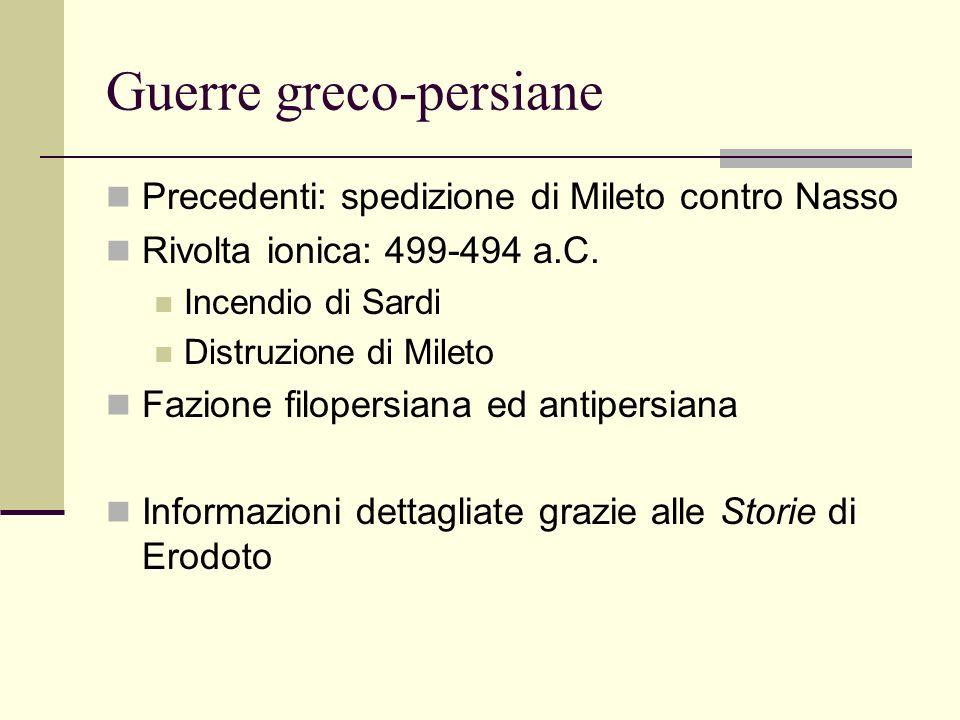 Guerre greco-persiane Precedenti: spedizione di Mileto contro Nasso Rivolta ionica: 499-494 a.C. Incendio di Sardi Distruzione di Mileto Fazione filop