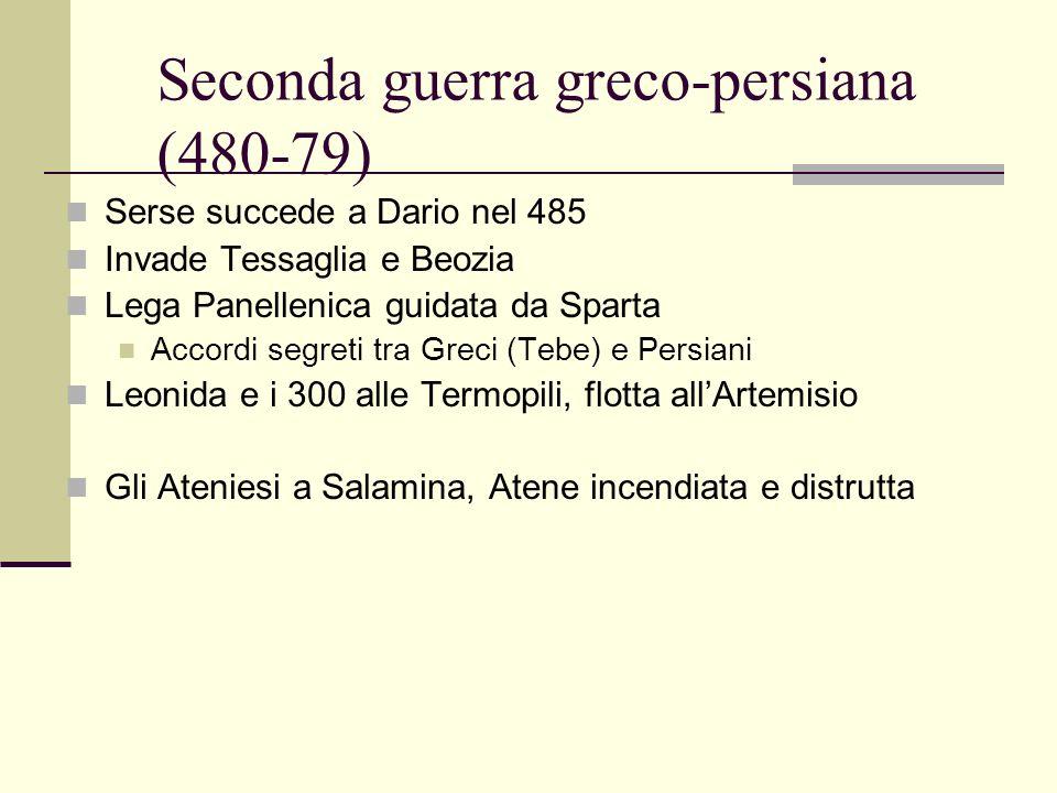 Seconda guerra greco-persiana (480-79) Serse succede a Dario nel 485 Invade Tessaglia e Beozia Lega Panellenica guidata da Sparta Accordi segreti tra