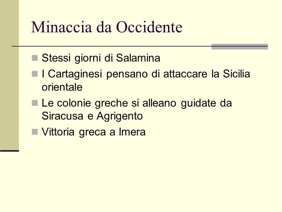Minaccia da Occidente Stessi giorni di Salamina I Cartaginesi pensano di attaccare la Sicilia orientale Le colonie greche si alleano guidate da Siracu