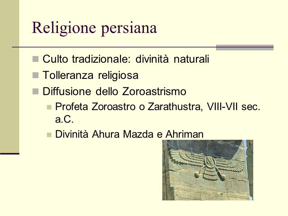 Religione persiana Culto tradizionale: divinità naturali Tolleranza religiosa Diffusione dello Zoroastrismo Profeta Zoroastro o Zarathustra, VIII-VII