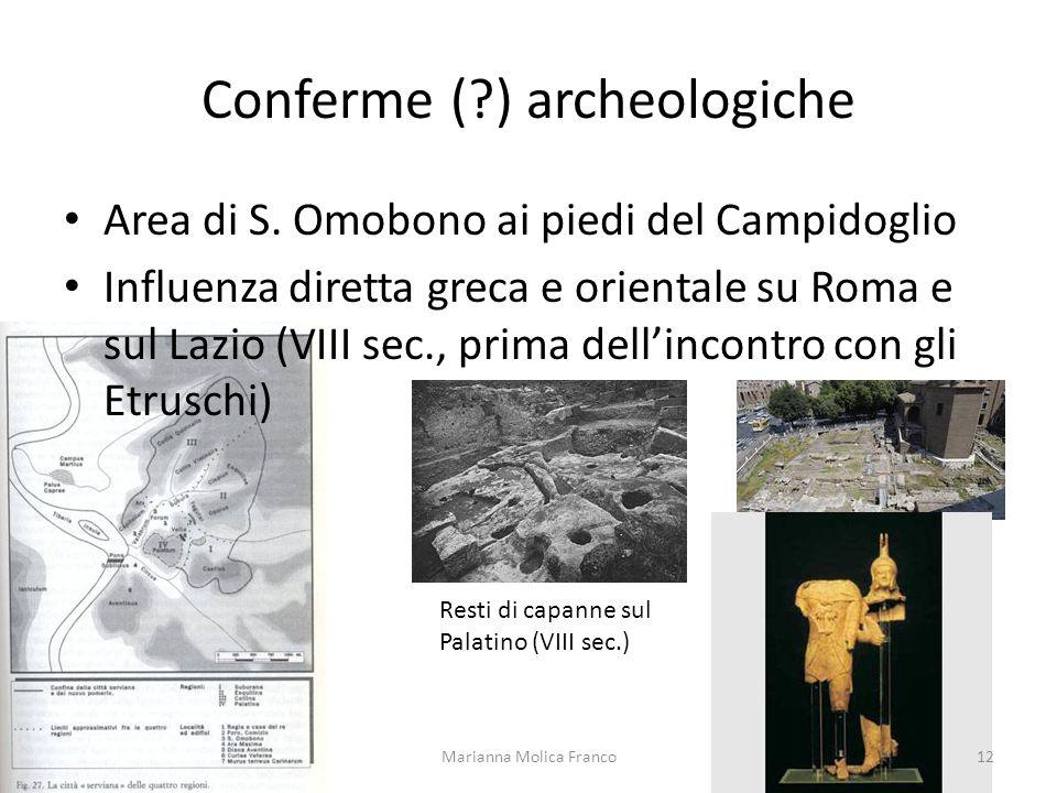 Conferme (?) archeologiche Area di S. Omobono ai piedi del Campidoglio Influenza diretta greca e orientale su Roma e sul Lazio (VIII sec., prima delli