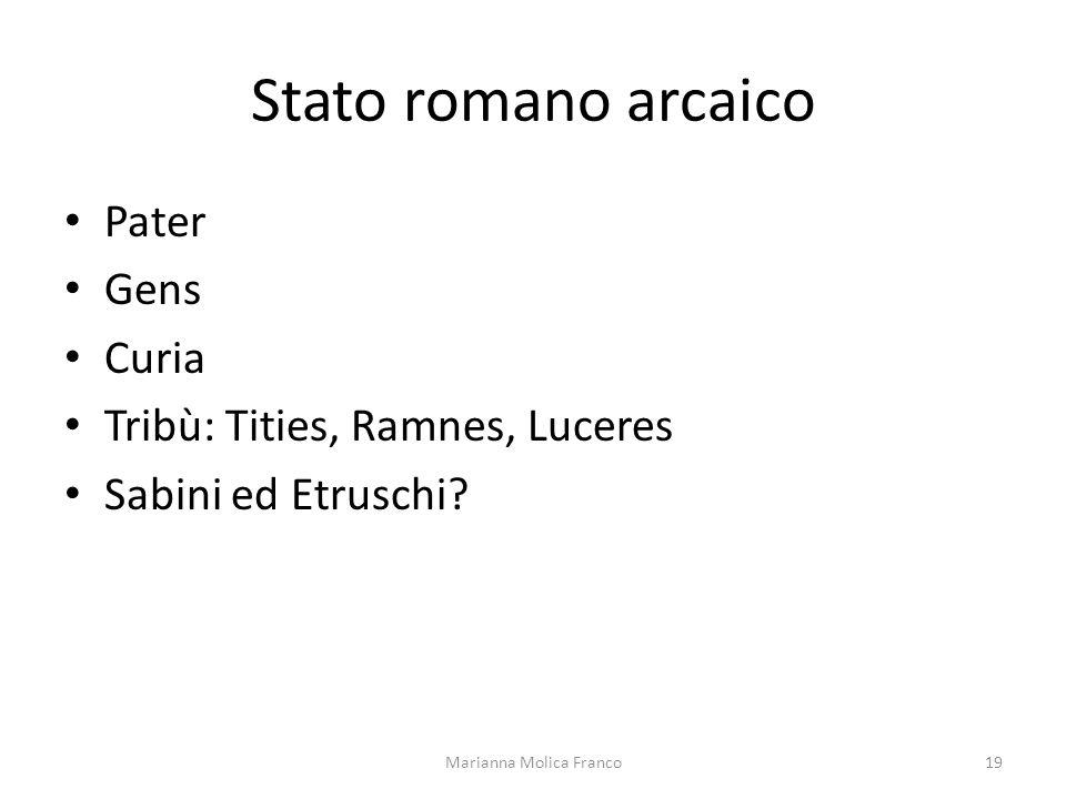 Stato romano arcaico Pater Gens Curia Tribù: Tities, Ramnes, Luceres Sabini ed Etruschi? 19Marianna Molica Franco