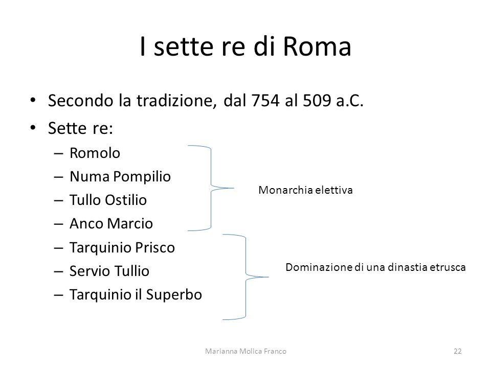 I sette re di Roma Secondo la tradizione, dal 754 al 509 a.C. Sette re: – Romolo – Numa Pompilio – Tullo Ostilio – Anco Marcio – Tarquinio Prisco – Se