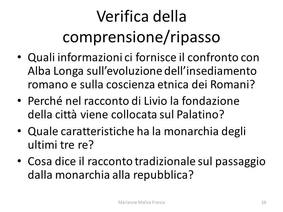 Verifica della comprensione/ripasso Quali informazioni ci fornisce il confronto con Alba Longa sullevoluzione dellinsediamento romano e sulla coscienz