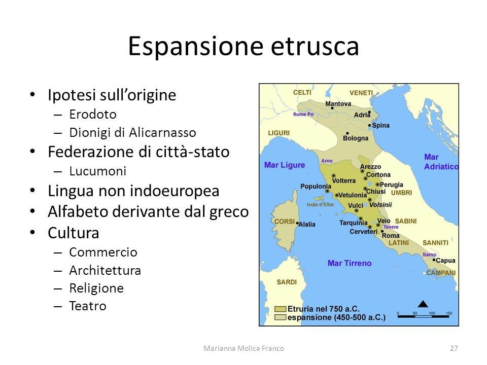 Espansione etrusca Ipotesi sullorigine – Erodoto – Dionigi di Alicarnasso Federazione di città-stato – Lucumoni Lingua non indoeuropea Alfabeto deriva