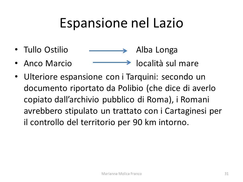 Espansione nel Lazio Tullo Ostilio Alba Longa Anco Marcio località sul mare Ulteriore espansione con i Tarquini: secondo un documento riportato da Pol