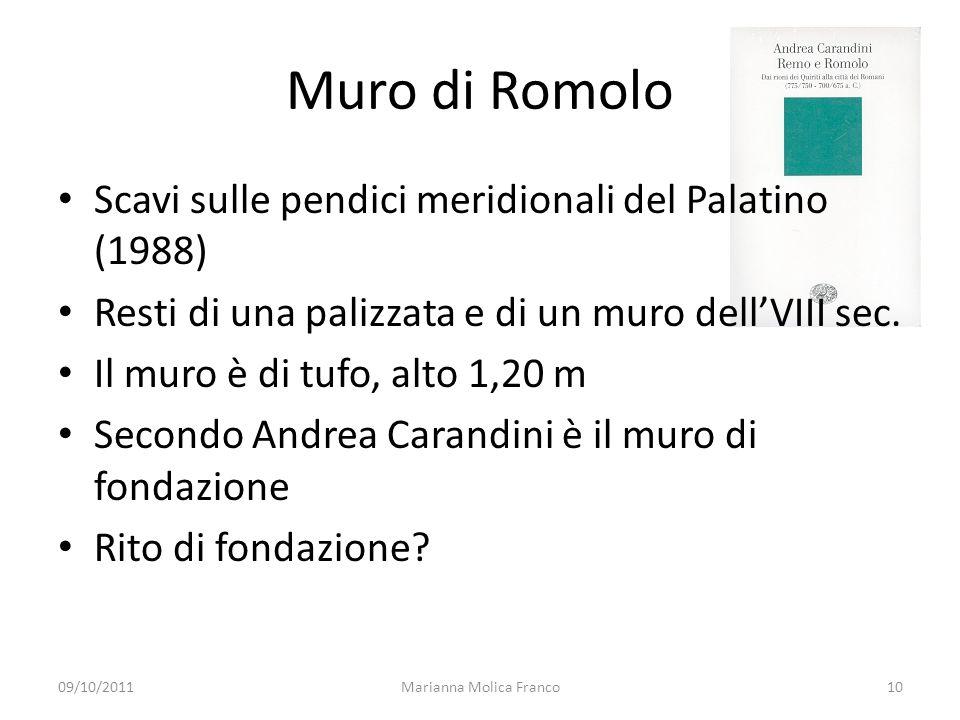Muro di Romolo Scavi sulle pendici meridionali del Palatino (1988) Resti di una palizzata e di un muro dellVIII sec.