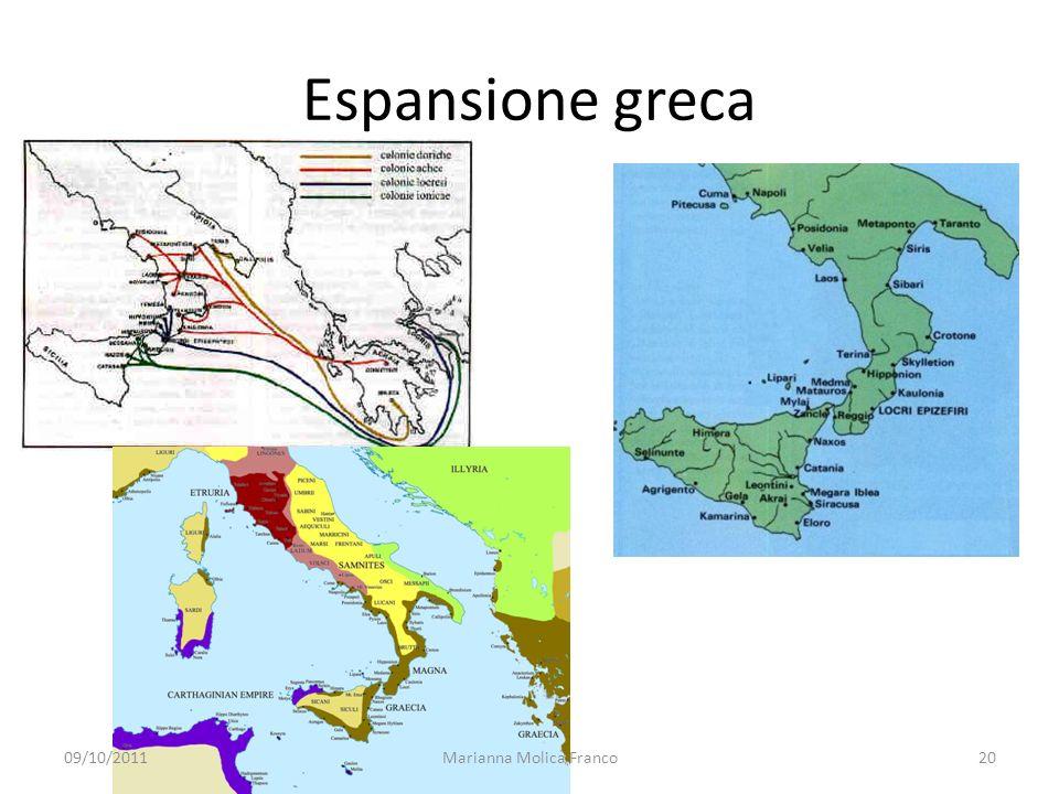Espansione greca 09/10/201120Marianna Molica Franco