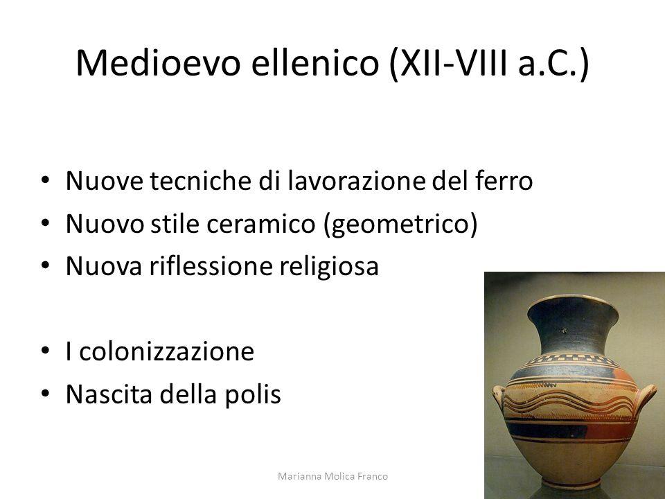 Medioevo ellenico (XII-VIII a.C.) Nuove tecniche di lavorazione del ferro Nuovo stile ceramico (geometrico) Nuova riflessione religiosa I colonizzazio