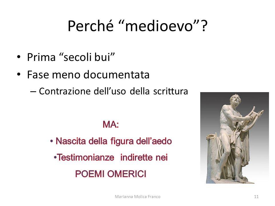 Perché medioevo? Prima secoli bui Fase meno documentata – Contrazione delluso della scrittura Marianna Molica Franco11