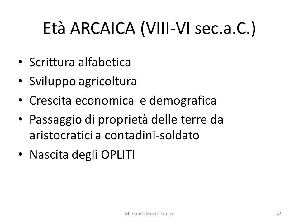 Età ARCAICA (VIII-VI sec.a.C.) Scrittura alfabetica Sviluppo agricoltura Crescita economica e demografica Passaggio di proprietà delle terre da aristo