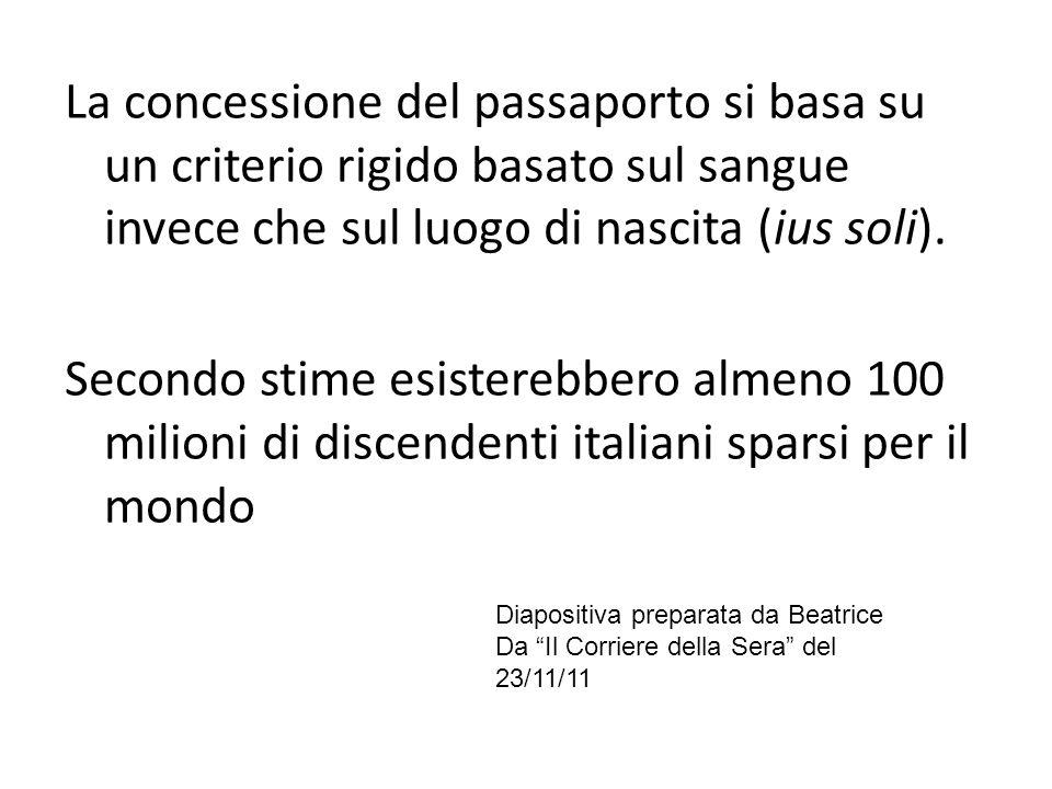 La concessione del passaporto si basa su un criterio rigido basato sul sangue invece che sul luogo di nascita (ius soli). Secondo stime esisterebbero