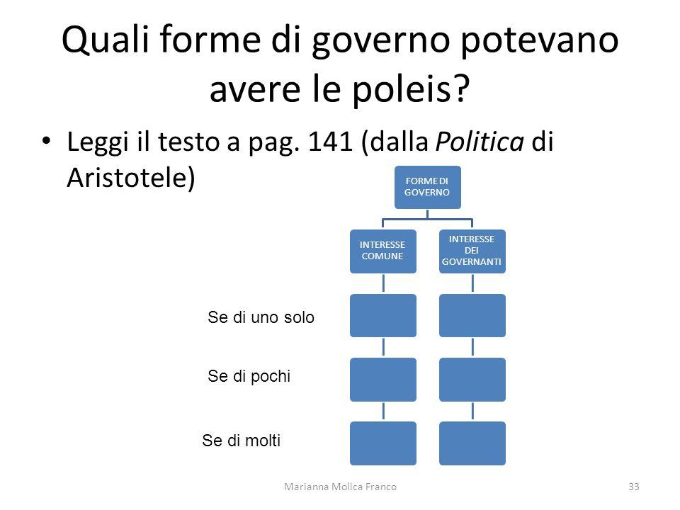 Quali forme di governo potevano avere le poleis? Leggi il testo a pag. 141 (dalla Politica di Aristotele) Marianna Molica Franco33 FORME DI GOVERNO IN