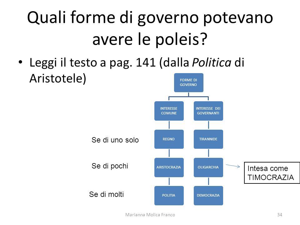 Quali forme di governo potevano avere le poleis? Leggi il testo a pag. 141 (dalla Politica di Aristotele) Marianna Molica Franco34 FORME DI GOVERNO IN