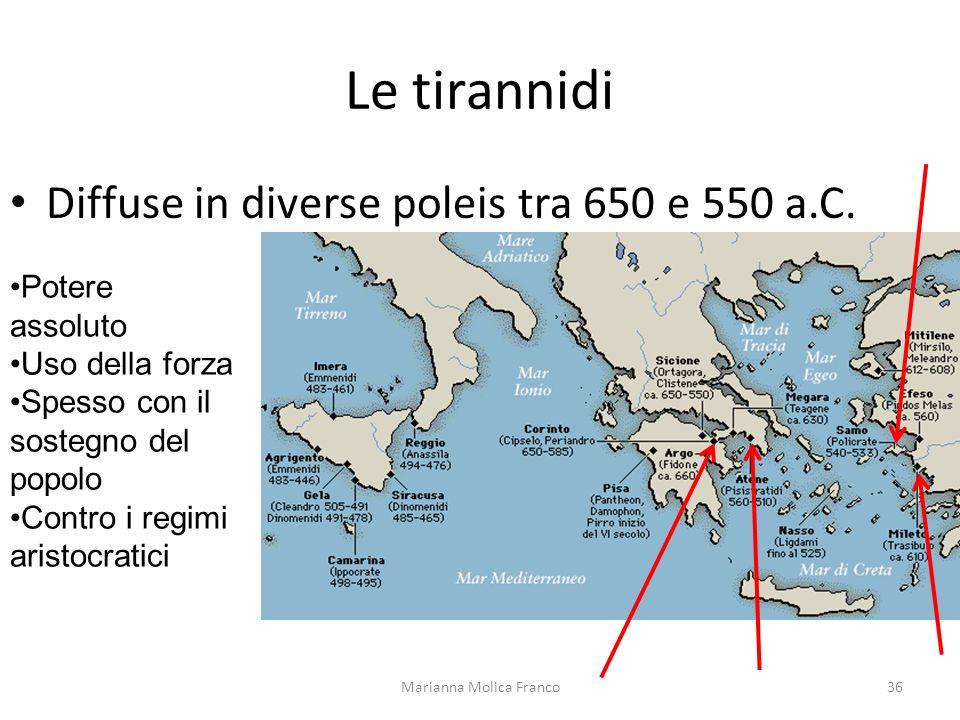 Le tirannidi Diffuse in diverse poleis tra 650 e 550 a.C. Marianna Molica Franco36 Potere assoluto Uso della forza Spesso con il sostegno del popolo C