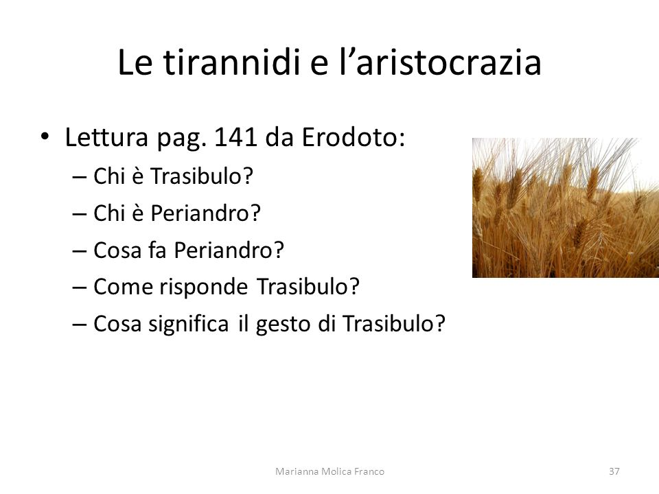 Le tirannidi e laristocrazia Lettura pag. 141 da Erodoto: – Chi è Trasibulo? – Chi è Periandro? – Cosa fa Periandro? – Come risponde Trasibulo? – Cosa