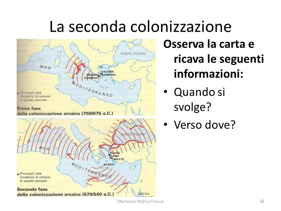 La seconda colonizzazione Marianna Molica Franco38 Osserva la carta e ricava le seguenti informazioni: Quando si svolge? Verso dove?