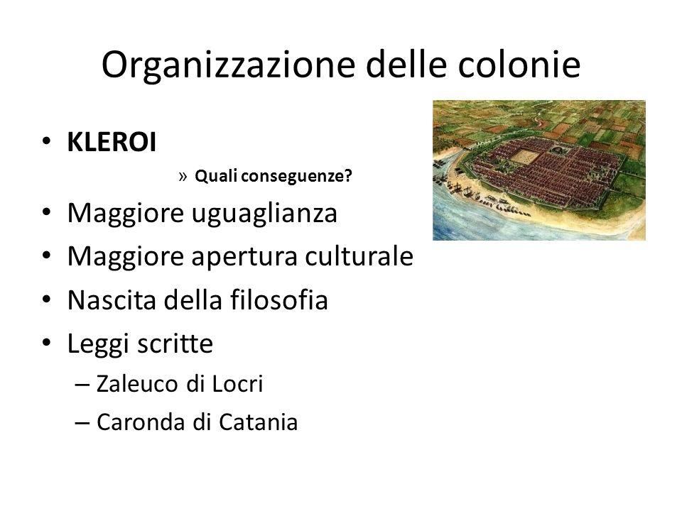 Organizzazione delle colonie KLEROI » Quali conseguenze? Maggiore uguaglianza Maggiore apertura culturale Nascita della filosofia Leggi scritte – Zale