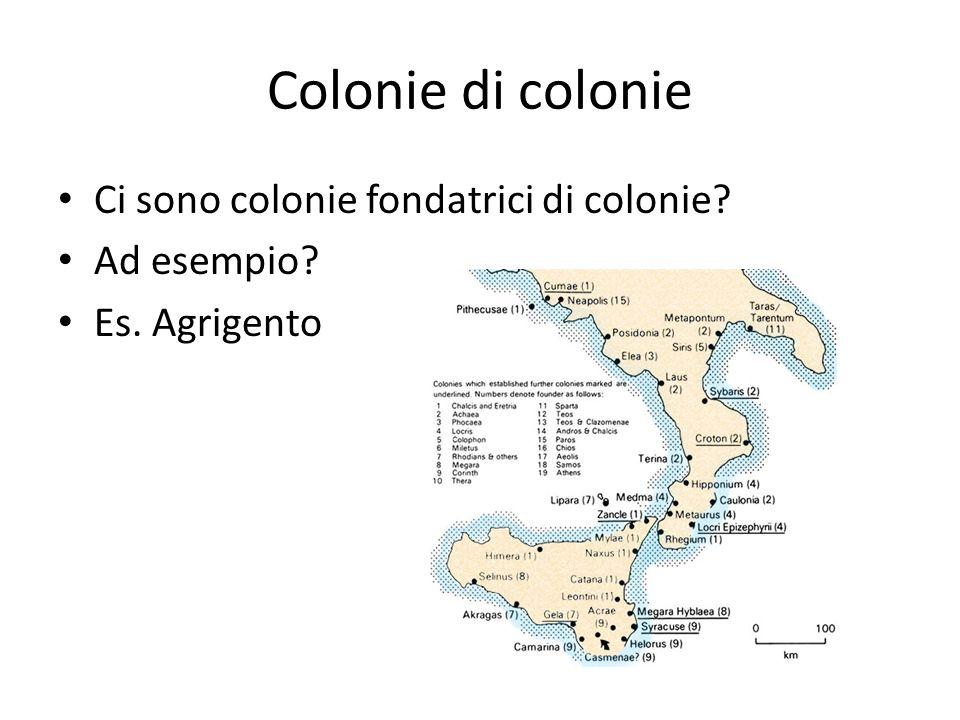Colonie di colonie Ci sono colonie fondatrici di colonie? Ad esempio? Es. Agrigento