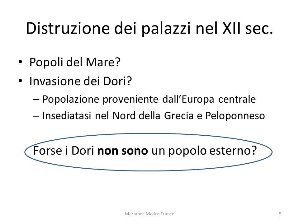 Distruzione dei palazzi nel XII sec. Popoli del Mare? Invasione dei Dori? – Popolazione proveniente dallEuropa centrale – Insediatasi nel Nord della G