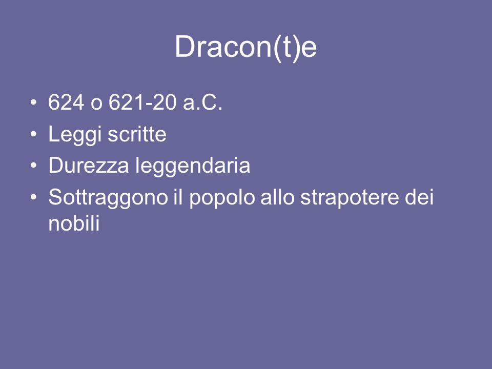 Dracon(t)e 624 o 621-20 a.C. Leggi scritte Durezza leggendaria Sottraggono il popolo allo strapotere dei nobili