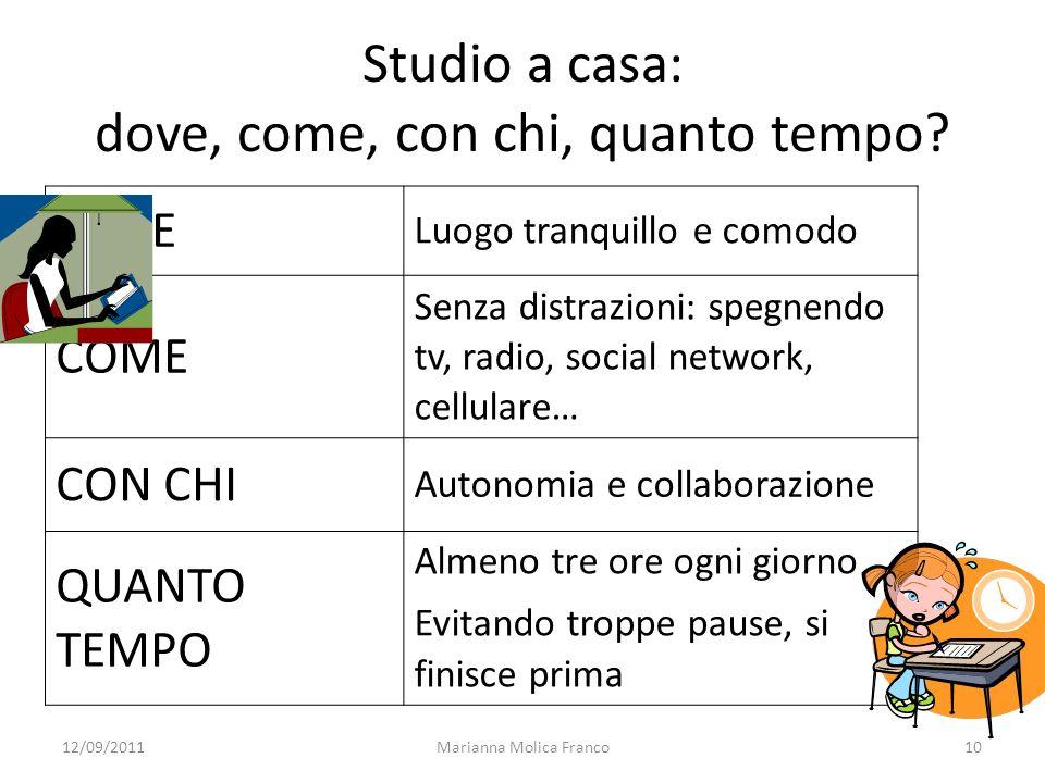 Marianna Molica Franco10 Studio a casa: dove, come, con chi, quanto tempo? DOVE Luogo tranquillo e comodo COME Senza distrazioni: spegnendo tv, radio,