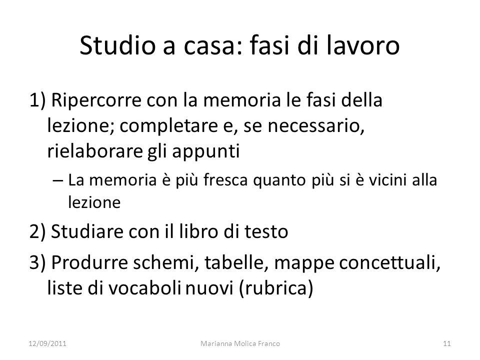 Marianna Molica Franco11 Studio a casa: fasi di lavoro 1) Ripercorre con la memoria le fasi della lezione; completare e, se necessario, rielaborare gl