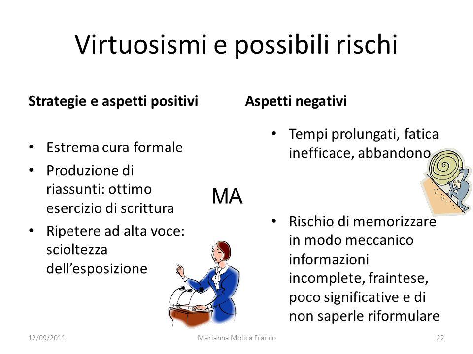 Marianna Molica Franco22 Virtuosismi e possibili rischi Strategie e aspetti positivi Estrema cura formale Produzione di riassunti: ottimo esercizio di