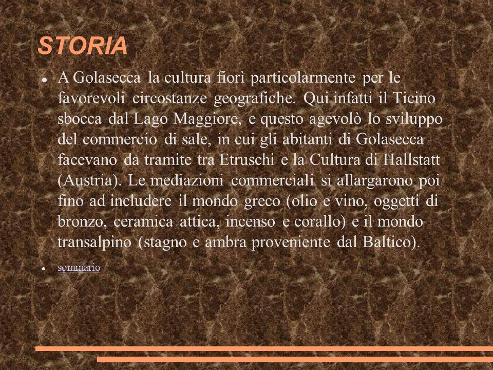 STORIA A Golasecca la cultura fiorì particolarmente per le favorevoli circostanze geografiche. Qui infatti il Ticino sbocca dal Lago Maggiore, e quest