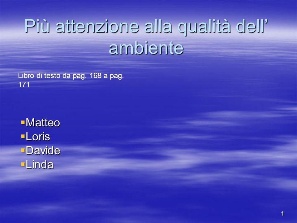 1 Più attenzione alla qualità dell ambiente Matteo Matteo Loris Loris Davide Davide Linda Linda Libro di testo da pag.
