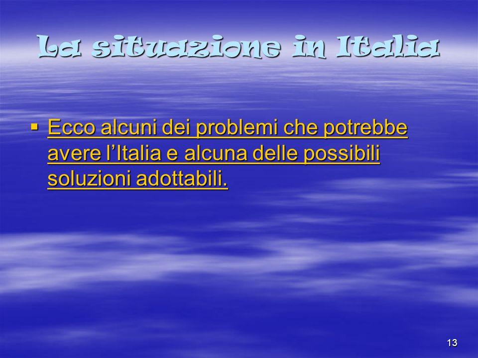 13 La situazione in Italia Ecco alcuni dei problemi che potrebbe avere lItalia e alcuna delle possibili soluzioni adottabili.