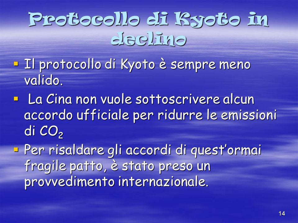 14 Protocollo di Kyoto in declino Il protocollo di Kyoto è sempre meno valido.